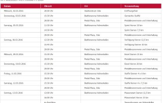 Zeitplan Biathlon WM
